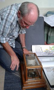 Fig 5. Simon Leach with his mother's barograph